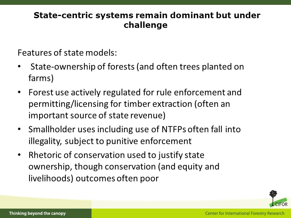 Features of state models: State-ownership of forests (and often trees planted on farms) Forest use actively regulated for rule enforcement and permitting/licensing for timber extraction (often an important source of state revenue) Smallholder uses including use of NTFPs often fall into illegality, subject to punitive enforcement Rhetoric of conservation used to justify state ownership, though conservation (and equity and livelihoods) outcomes often poor State-centric systems remain dominant but under challenge