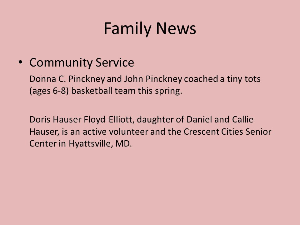 Family News Community Service Donna C.