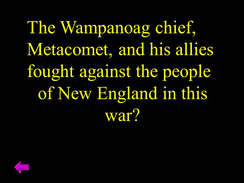 The Wampanoag chief, Metacomet, and his allies fought against the people of New England in this war?