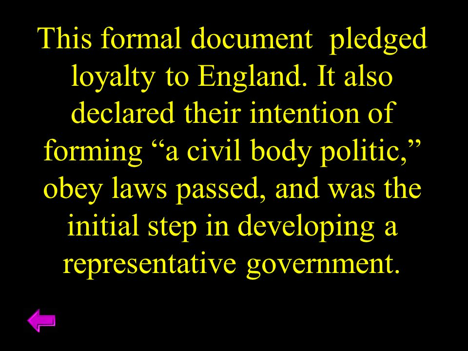 "This formal document pledged loyalty to England. It also declared their intention of forming ""a civil body politic,"" obey laws passed, and was the ini"