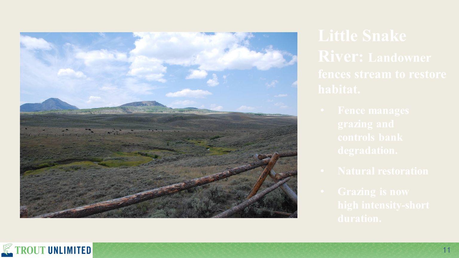 11 Little Snake River : Landowner fences stream to restore habitat. Fence manages grazing and controls bank degradation. Natural restoration Grazing i