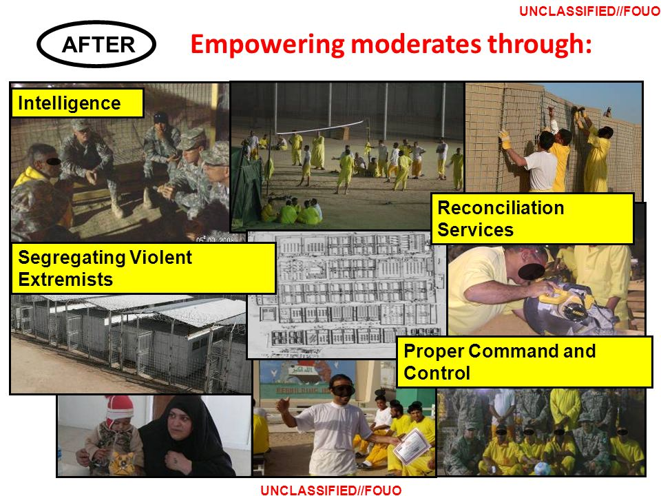 Empowering moderates through: Intelligence AFTER UNCLASSIFIED//FOUO Segregating Violent Extremists Reconciliation Services Proper Command and Control