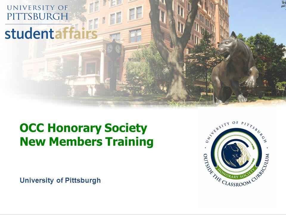 OCC Honorary Society New Members Training University of Pittsburgh