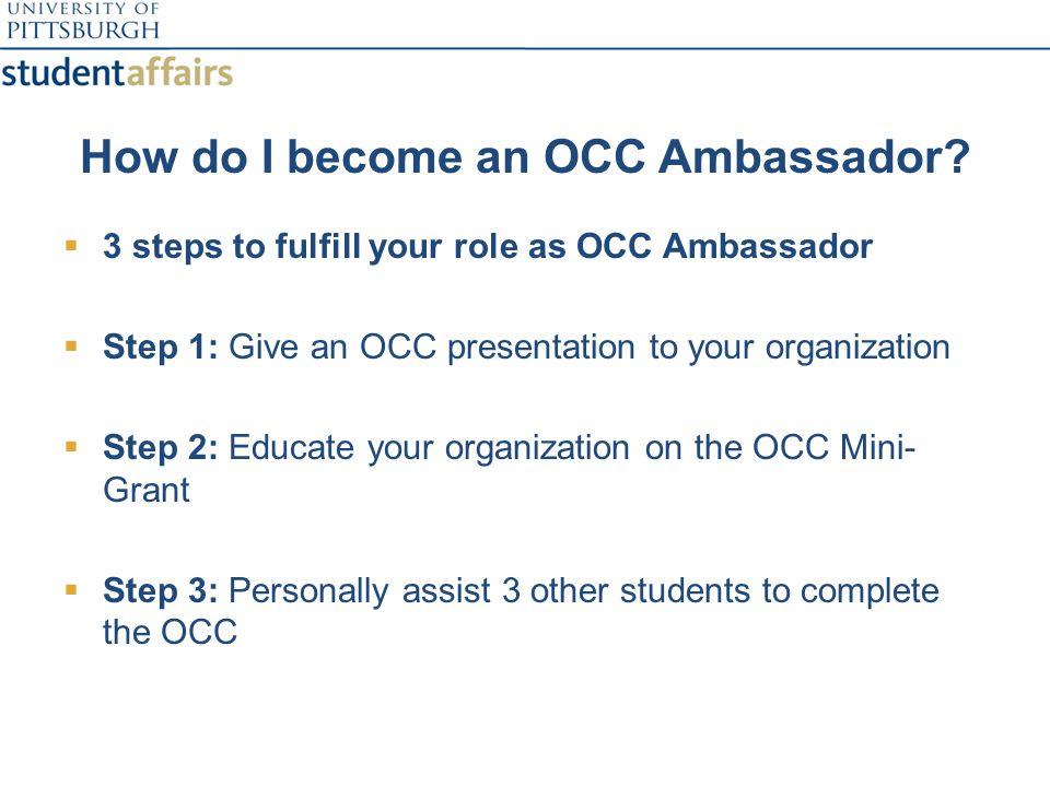 How do I become an OCC Ambassador.