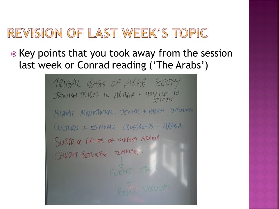  Key points that you took away from the session last week or Conrad reading ('The Arabs')