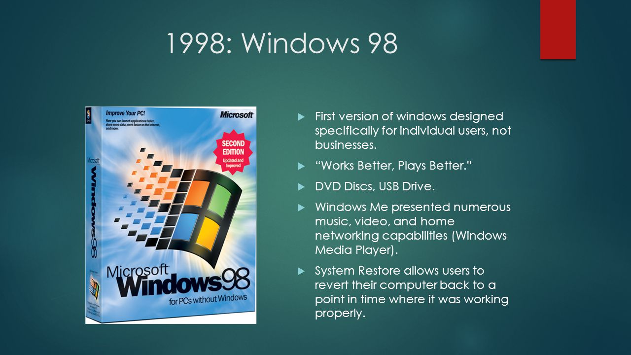 1998: Windows 98  First version of windows designed specifically for individual users, not businesses.