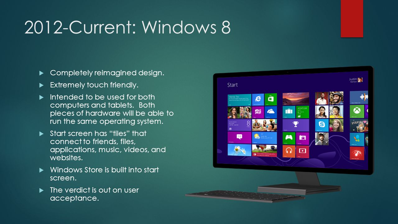 2012-Current: Windows 8  Completely reimagined design.