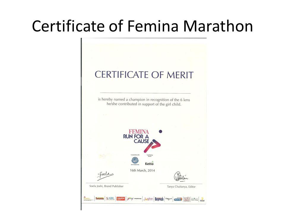 Certificate of Femina Marathon
