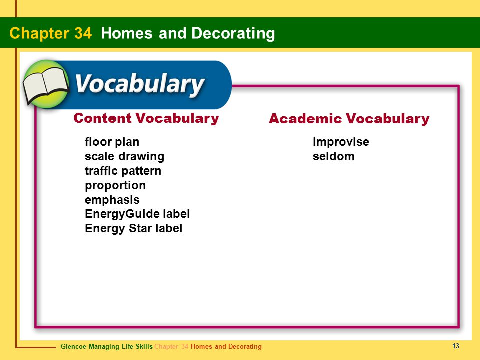 Glencoe Managing Life Skills Chapter 34 Homes and Decorating Chapter 34 Homes and Decorating 13 Content Vocabulary Academic Vocabulary floor plan scale drawing traffic pattern proportion emphasis EnergyGuide label Energy Star label improvise seldom