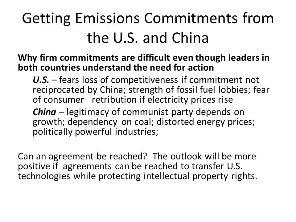 Getting Emissions Commitments from the U.S.