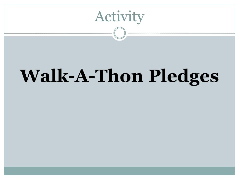 Activity Walk-A-Thon Pledges