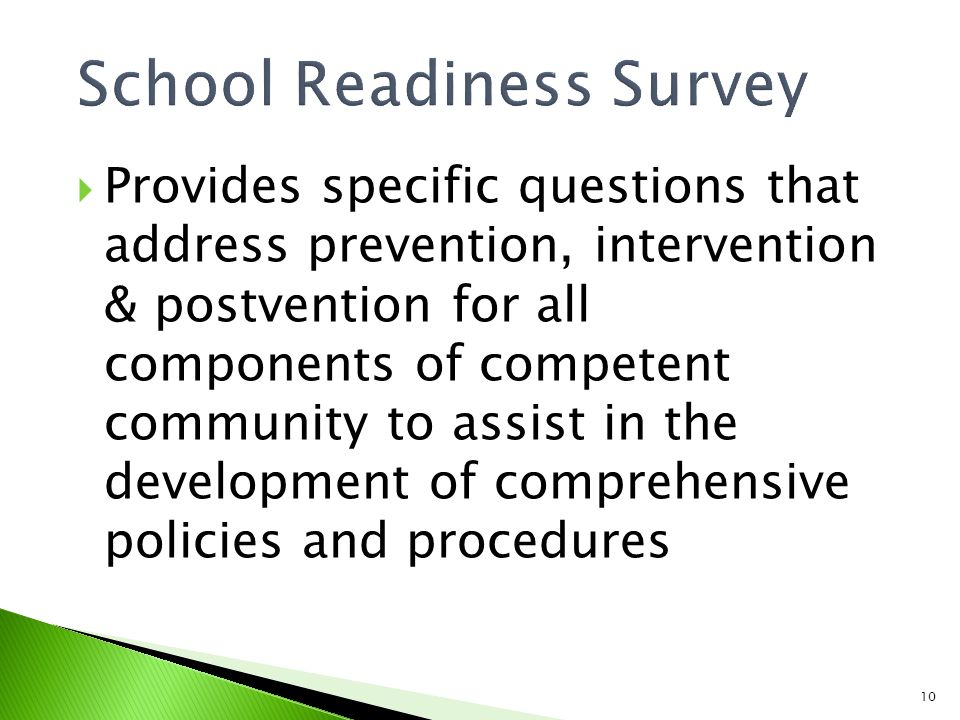 10  Provides specific questions that address prevention, intervention & postvention for all components of competent community to assist in the development of comprehensive policies and procedures