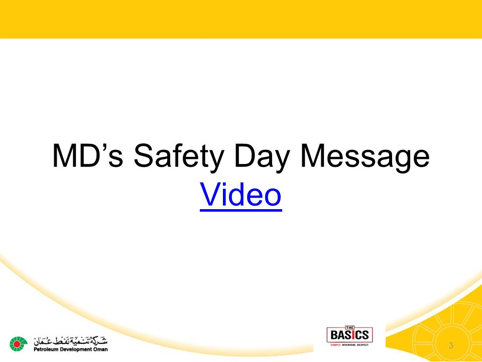 MD's Safety Day Message Video 3