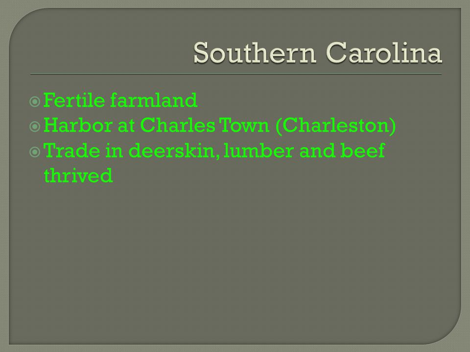  Fertile farmland  Harbor at Charles Town (Charleston)  Trade in deerskin, lumber and beef thrived