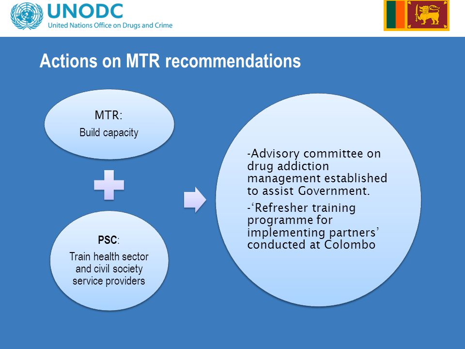 Actions on MTR recommendations MTR: Build capacity PSC : Train health sector and civil society service providers -Advisory committee on drug addiction management established to assist Government.