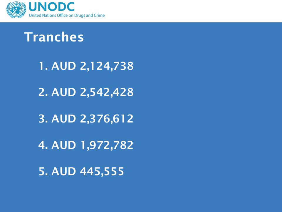 1. AUD 2,124,738 2. AUD 2,542,428 3. AUD 2,376,612 4. AUD 1,972,782 5. AUD 445,555 Tranches