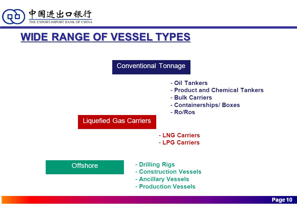 Page 10 Page 10 Conventional Tonnage WIDE RANGE OF VESSEL TYPES Liquefied Gas Carriers Offshore - Oil Tankers - Product and Chemical Tankers - Bulk Carriers - Containerships/ Boxes - Ro/Ros - LNG Carriers - LPG Carriers - Drilling Rigs - Construction Vessels - Ancillary Vessels - Production Vessels