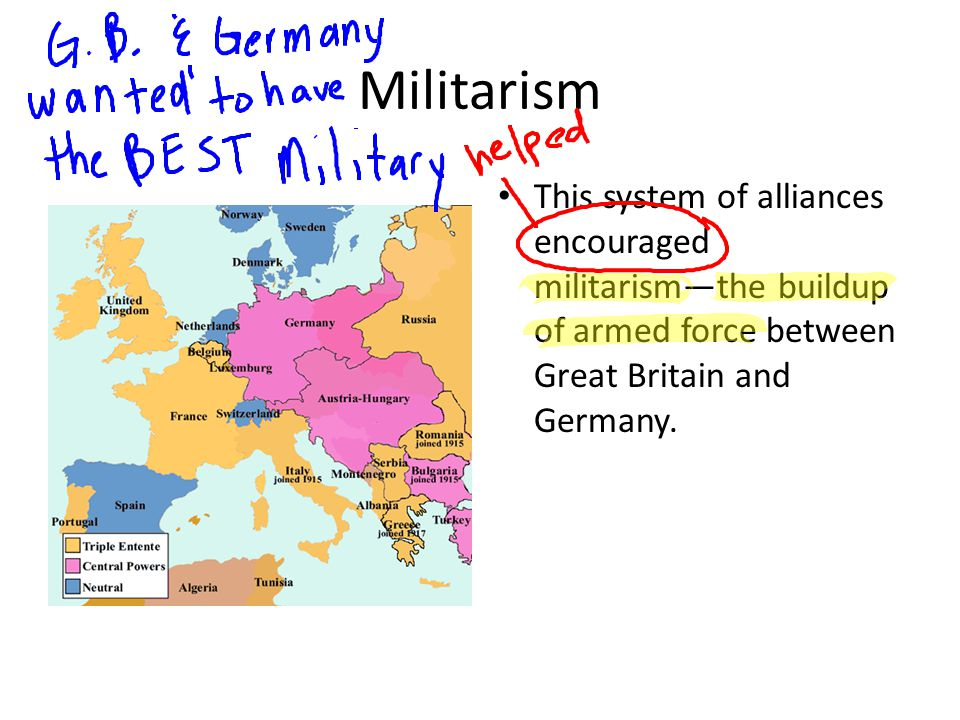 Militarism This system of alliances encouraged militarism—the buildup of armed force between Great Britain and Germany.