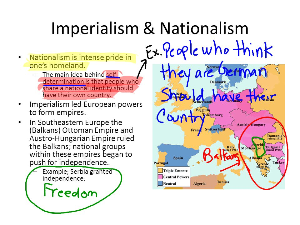 Imperialism & Nationalism Nationalism is intense pride in one's homeland. – The main idea behind self- determination is that people who share a nation
