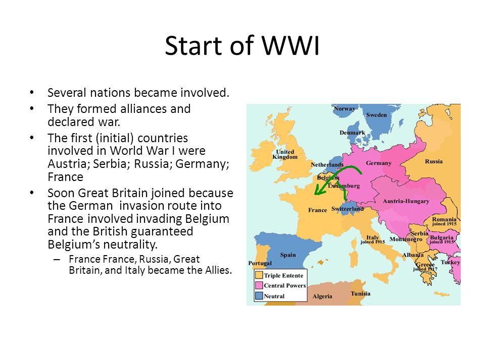 Start of WWI Germany, Austria- Hungary, the Ottoman Empire, and Bulgaria became the Central Powers.