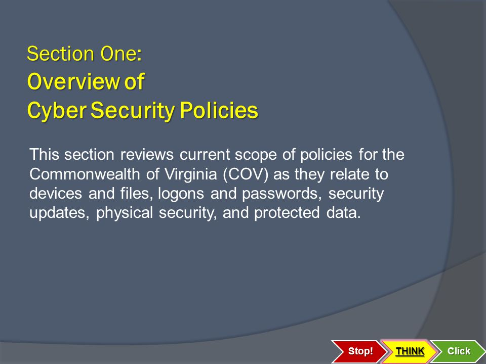 Section One: Overview of Cyber Security Policies Stop!THINK Click This section reviews current scope of policies for the Commonwealth of Virginia (COV) as they relate to devices and files, logons and passwords, security updates, physical security, and protected data.