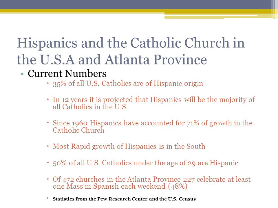 Hispanics and the Catholic Church in the U.S.A and Atlanta Province Current Numbers  35% of all U.S.