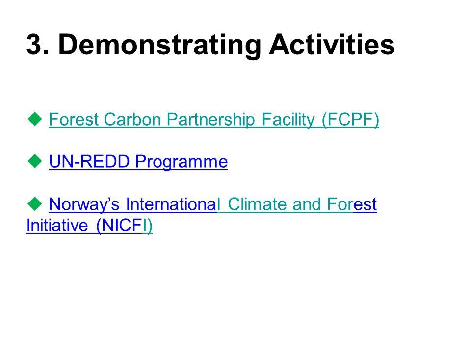 3. Demonstrating Activities  Forest Carbon Partnership Facility (FCPF)Forest Carbon Partnership Facility (FCPF)  UN-REDD Programme  Norway's Intern