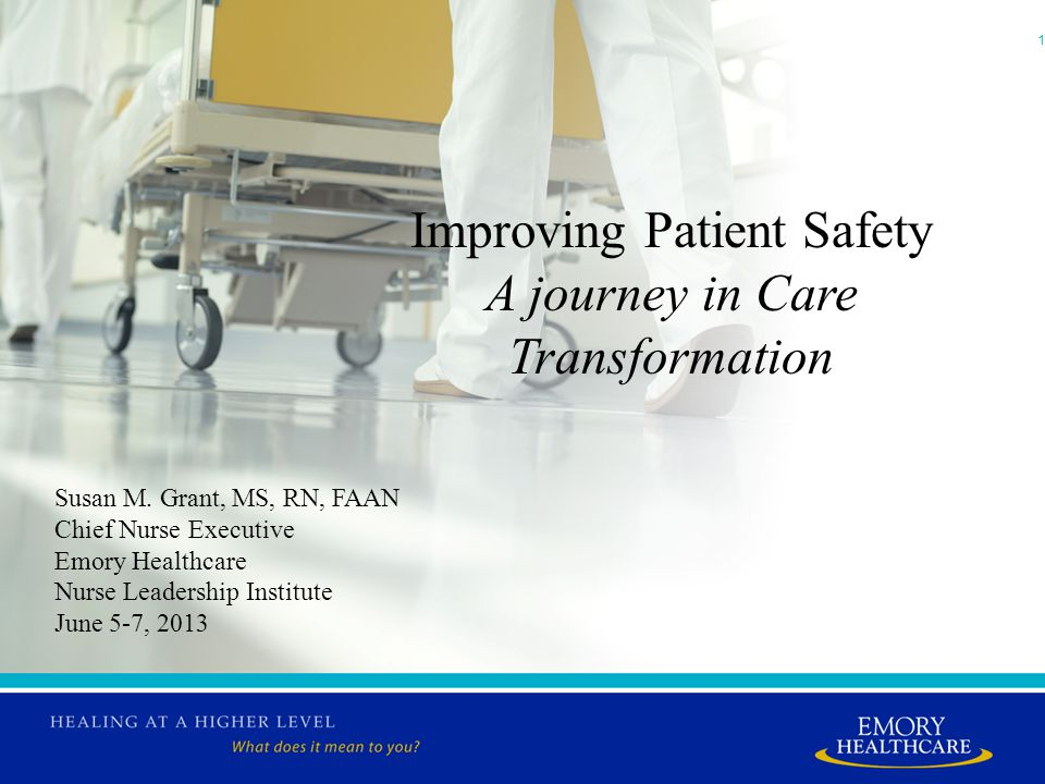 1 Improving Patient Safety A journey in Care Transformation Susan M.