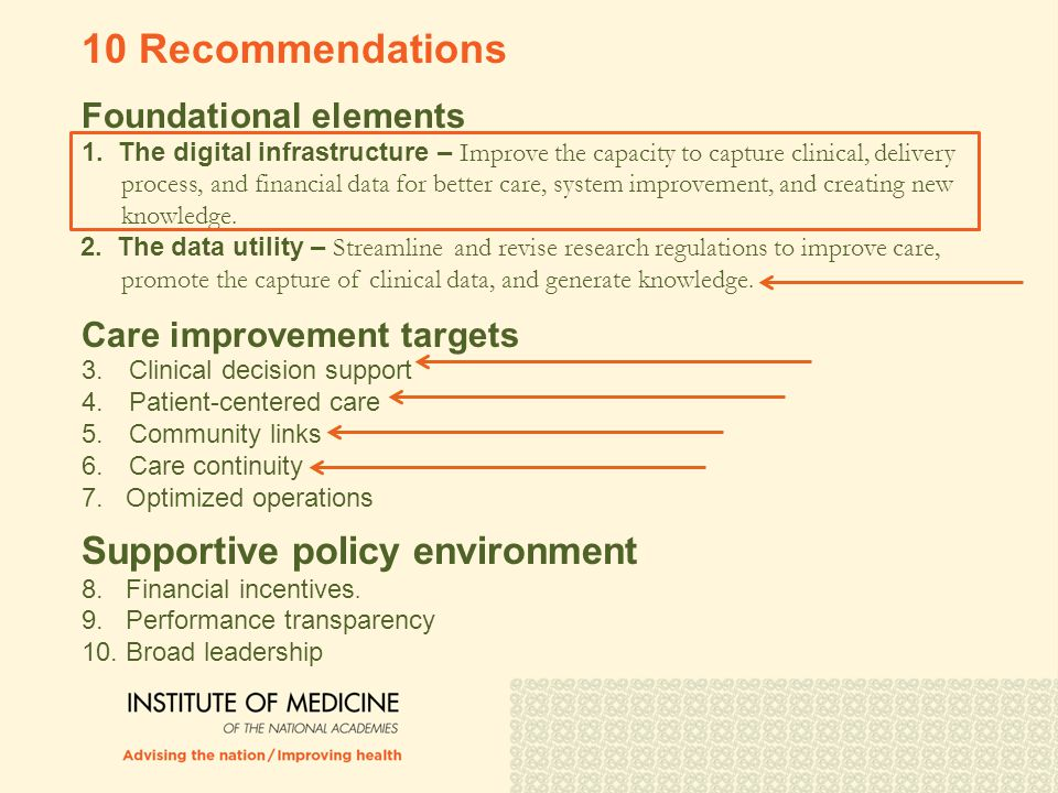 Foundational elements 1. The digital infrastructure – Improve the capacity to capture clinical, delivery process, and financial data for better care,