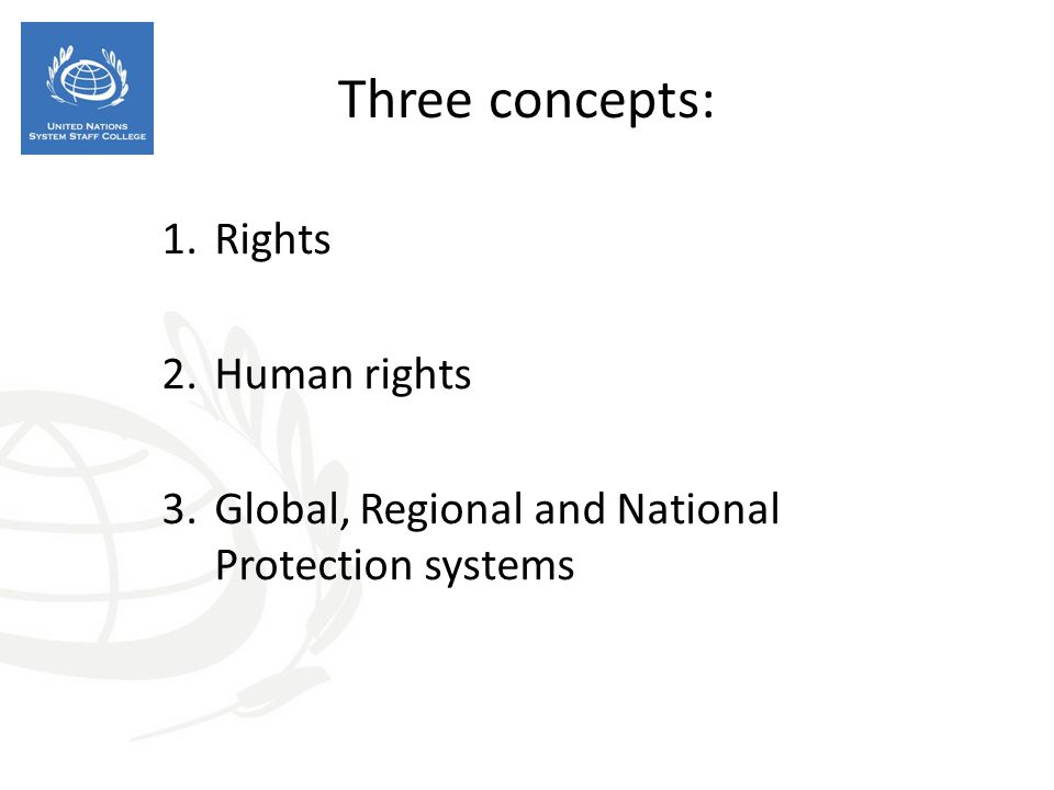 Three concepts: 1.Rights 2.Human rights 3.Global, Regional and National Protection systems