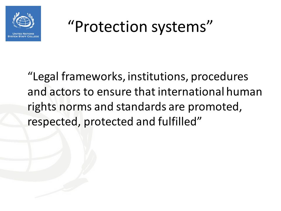 """""""Protection systems"""" """"Legal frameworks, institutions, procedures and actors to ensure that international human rights norms and standards are promoted"""