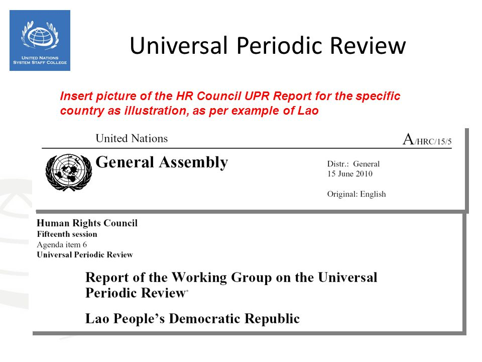 Universal Periodic Review Insert picture of the HR Council UPR Report for the specific country as illustration, as per example of Lao