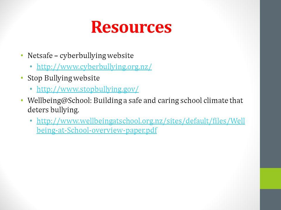 Resources Netsafe – cyberbullying website http://www.cyberbullying.org.nz/ Stop Bullying website http://www.stopbullying.gov/ Wellbeing@School: Buildi