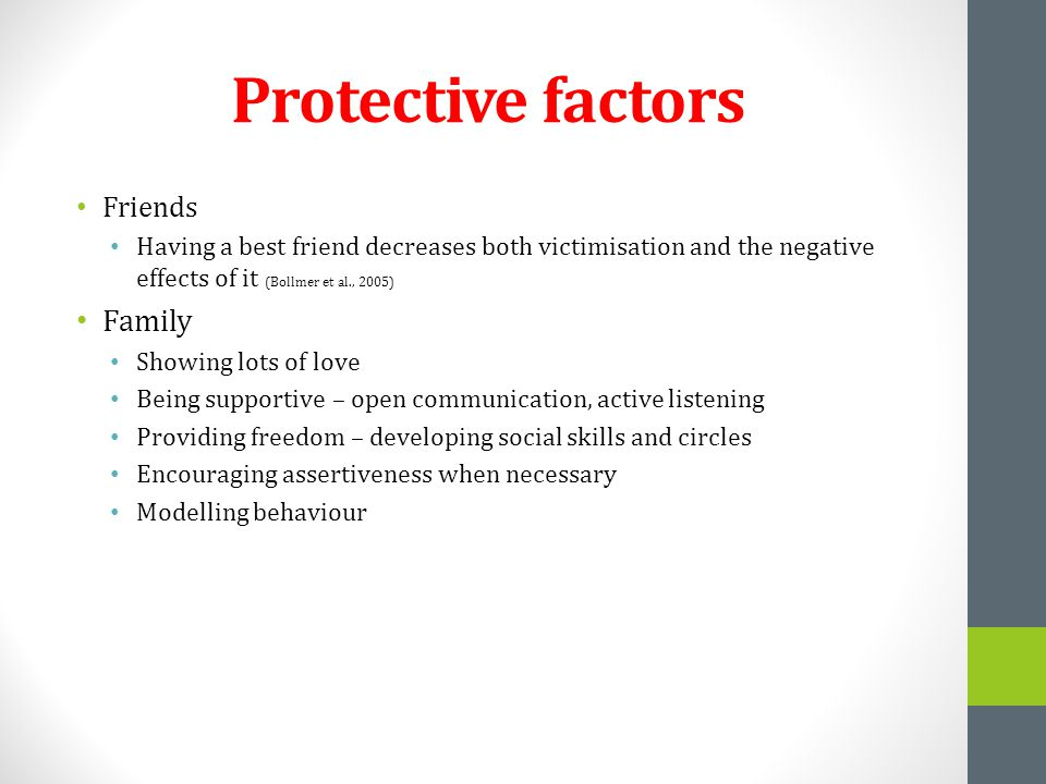 Protective factors Friends Having a best friend decreases both victimisation and the negative effects of it (Bollmer et al., 2005) Family Showing lots of love Being supportive – open communication, active listening Providing freedom – developing social skills and circles Encouraging assertiveness when necessary Modelling behaviour