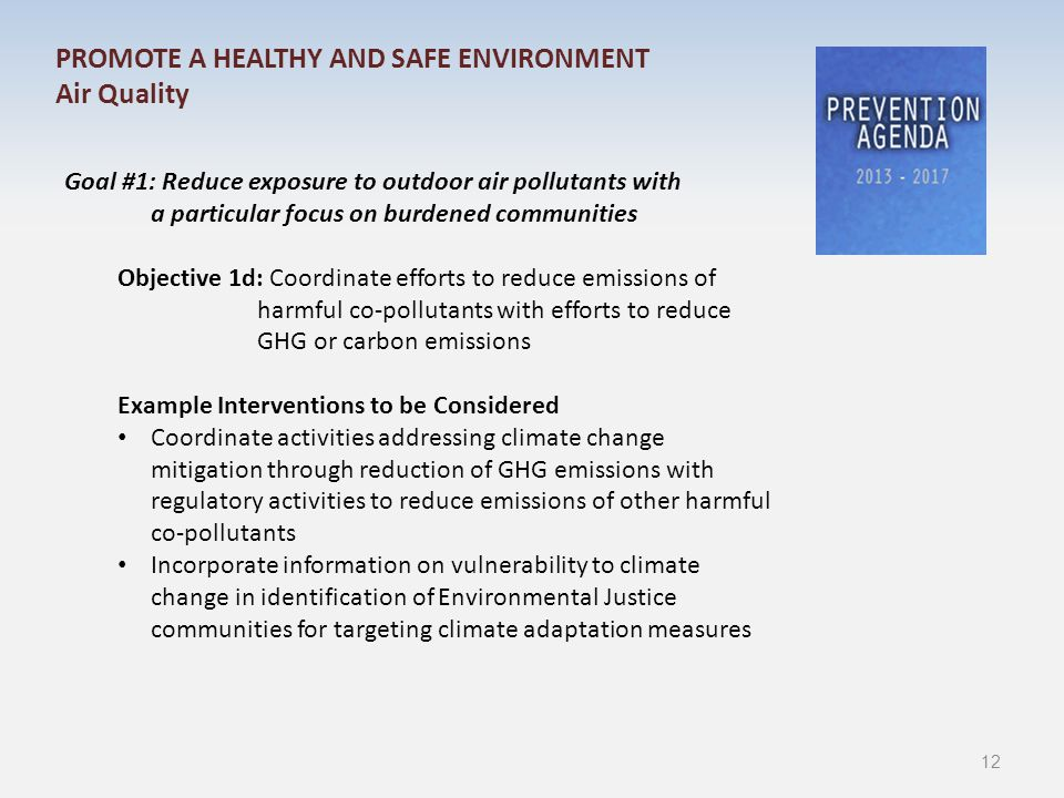 Goal #1: Reduce exposure to outdoor air pollutants with a particular focus on burdened communities Objective 1d: Coordinate efforts to reduce emissions of harmful co-pollutants with efforts to reduce GHG or carbon emissions Example Interventions to be Considered Coordinate activities addressing climate change mitigation through reduction of GHG emissions with regulatory activities to reduce emissions of other harmful co-pollutants Incorporate information on vulnerability to climate change in identification of Environmental Justice communities for targeting climate adaptation measures PROMOTE A HEALTHY AND SAFE ENVIRONMENT Air Quality 12