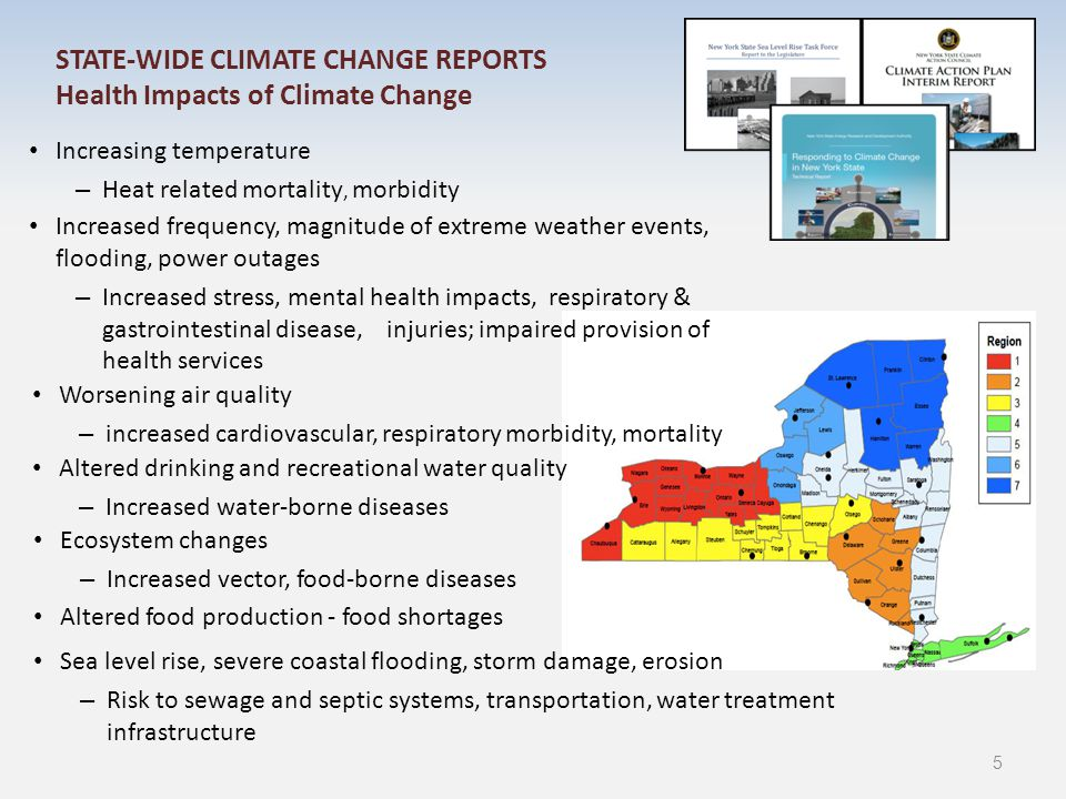 STATE-WIDE CLIMATE CHANGE REPORTS CAP/CLIMAID - Recommended Public Health Adaptations Educate, empower engage policy makers (state and local), community leaders, businesses, institutions, health-care providers, general public (i.e., all New Yorker's) about health impact of climate change Research and assess public health risks from climate change (including sea level rise), climate change and health indicators, and adaptation strategies; identify and address vulnerable populations Consider impacts of climate change (including sea level rise) on health in planning, programs, policies, regulations Increase resilience of communities by providing additional support for healthy built environment concepts, smart growth, green infrastructure, local/urban agriculture Assess, improve capacity of existing public health preparedness, response, recovery programs to respond and direct resource where needed 6