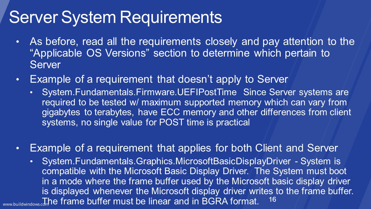 Server System Requirements 16