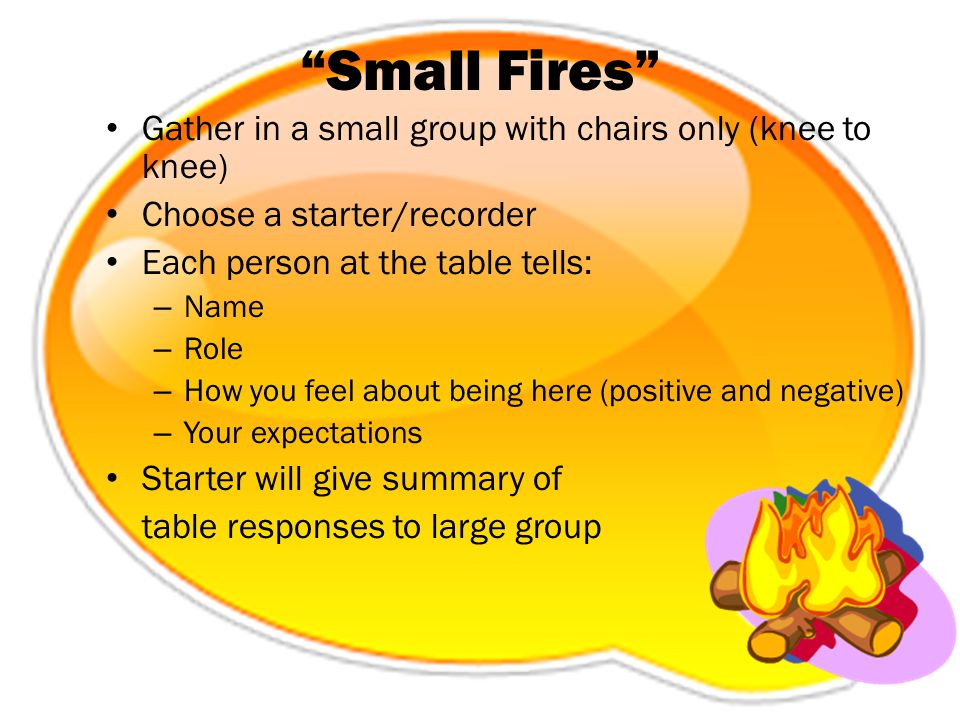 """Small Fires"" Gather in a small group with chairs only (knee to knee) Choose a starter/recorder Each person at the table tells: – Name – Role – How yo"