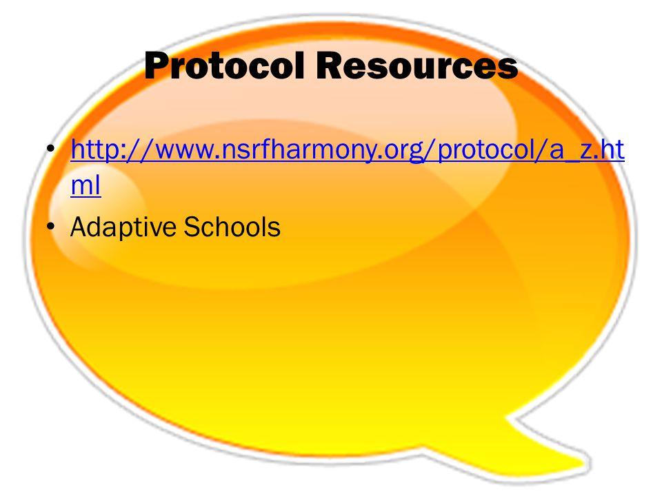 Protocol Resources http://www.nsrfharmony.org/protocol/a_z.ht ml http://www.nsrfharmony.org/protocol/a_z.ht ml Adaptive Schools