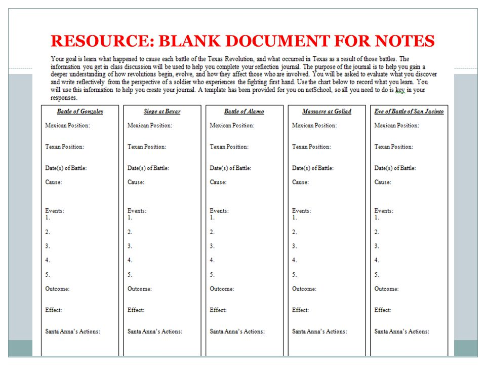 RESOURCE: BLANK DOCUMENT FOR NOTES