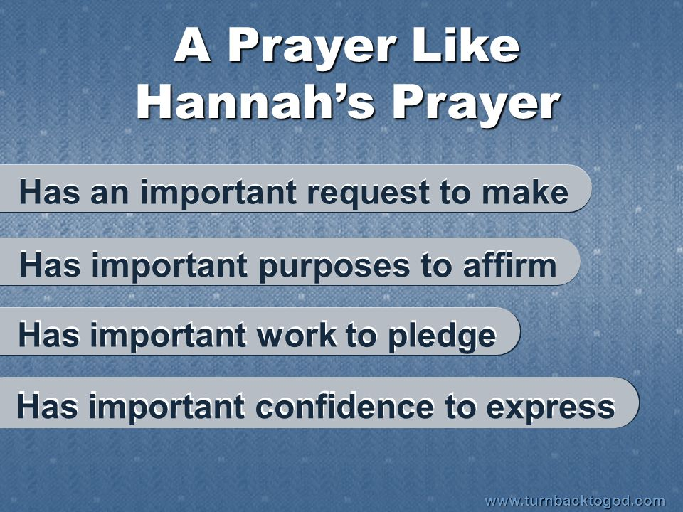 A Prayer Like Hannah's Prayer Has important confidence to express Has an important request to make Has important purposes to affirm Has important work
