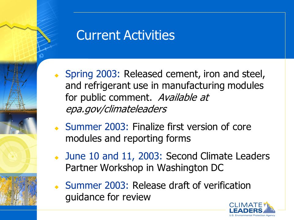 Current Activities u Spring 2003: Released cement, iron and steel, and refrigerant use in manufacturing modules for public comment.