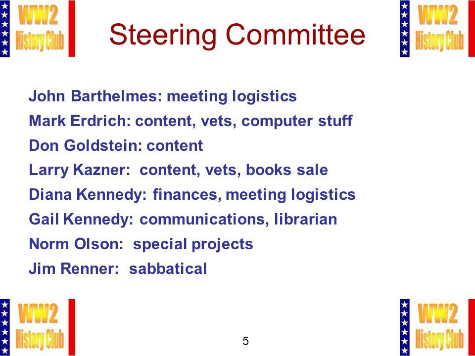 5 Steering Committee John Barthelmes: meeting logistics Mark Erdrich: content, vets, computer stuff Don Goldstein: content Larry Kazner: content, vets