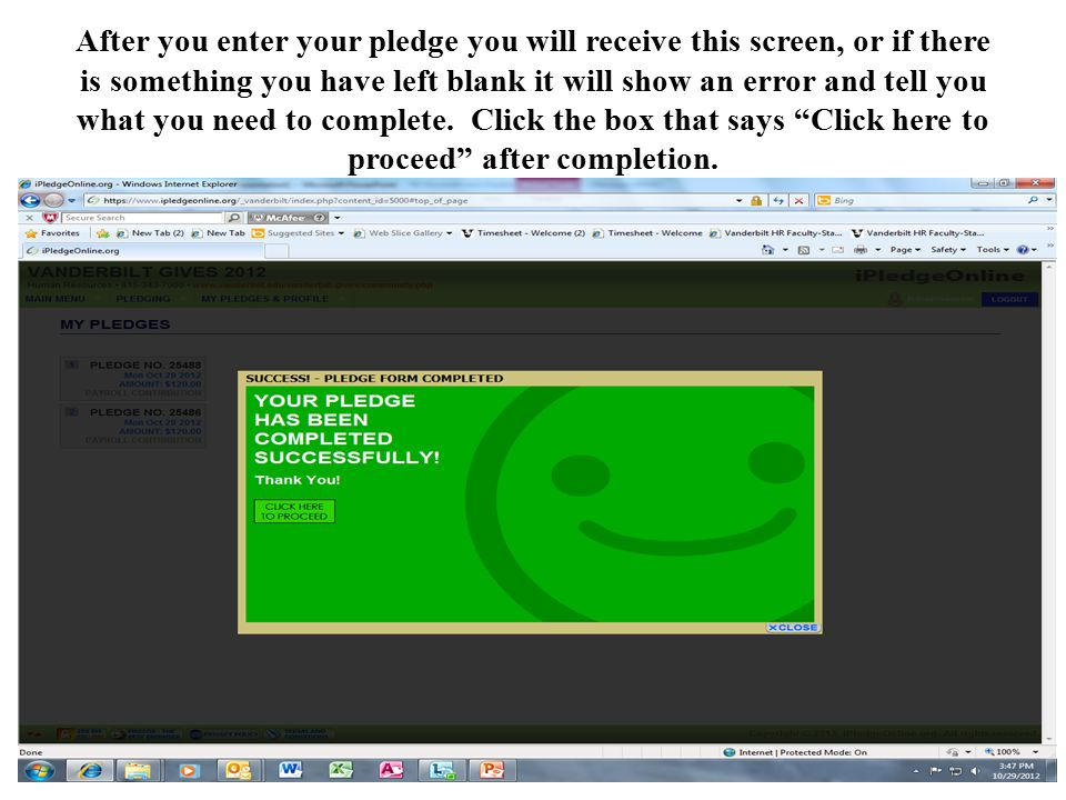 After you enter your pledge you will receive this screen, or if there is something you have left blank it will show an error and tell you what you need to complete.