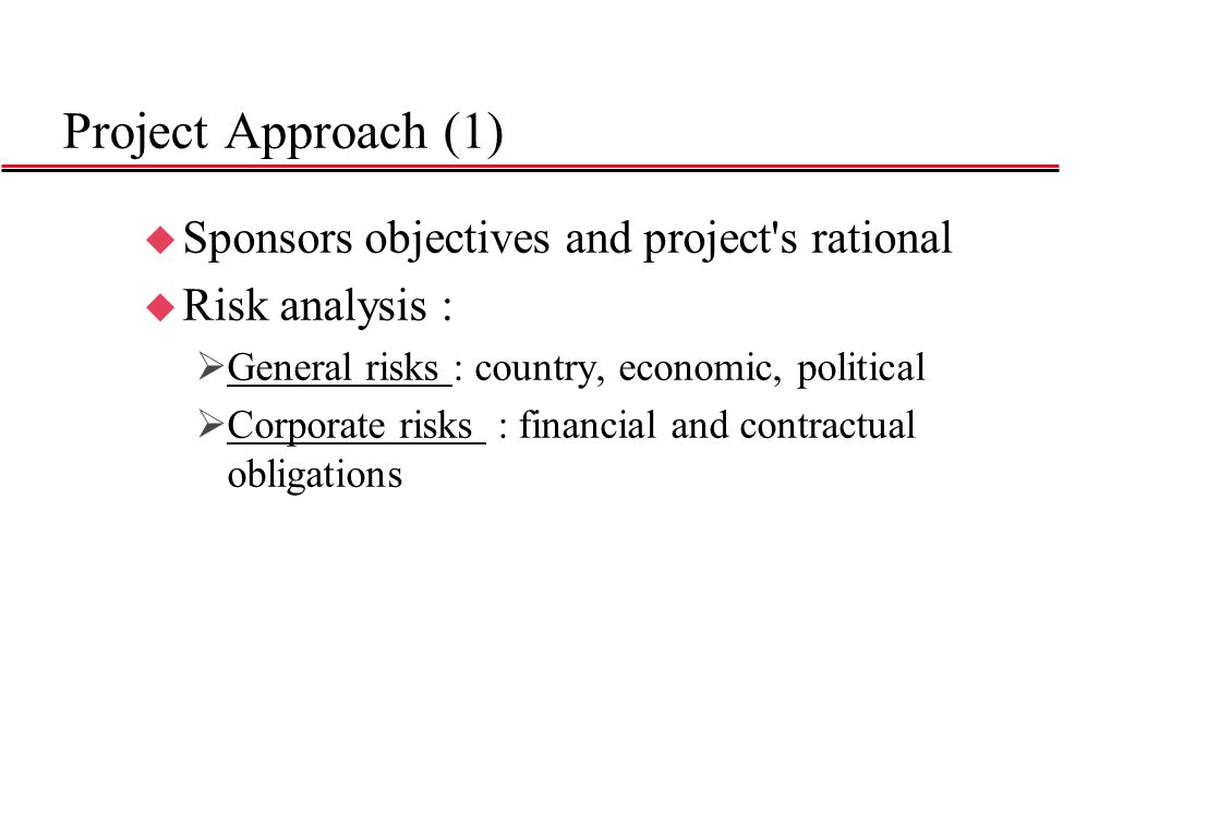 Project Approach (2)  Specific risks : »regulatory »technical »construction completion (delays, cost overruns, performances) »supply, reserves »operations (performances, availability, operating costs) »market (volume, price, traffic) »financial risk (exchange, interest, liquidity, transferability risks) »Force Majeure