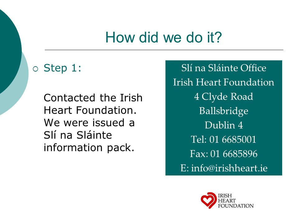 How did we do it.  Step 1: Contacted the Irish Heart Foundation.