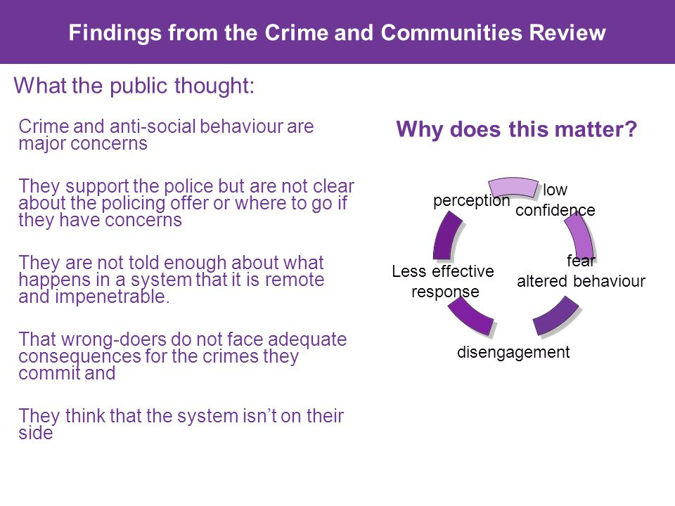 What the public thought: Crime and anti-social behaviour are major concerns They support the police but are not clear about the policing offer or where to go if they have concerns They are not told enough about what happens in a system that it is remote and impenetrable.