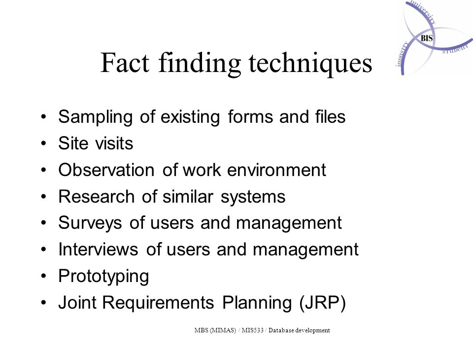MBS (MIMAS) / MIS533 / Database development Fact finding techniques Sampling of existing forms and files Site visits Observation of work environment Research of similar systems Surveys of users and management Interviews of users and management Prototyping Joint Requirements Planning (JRP)