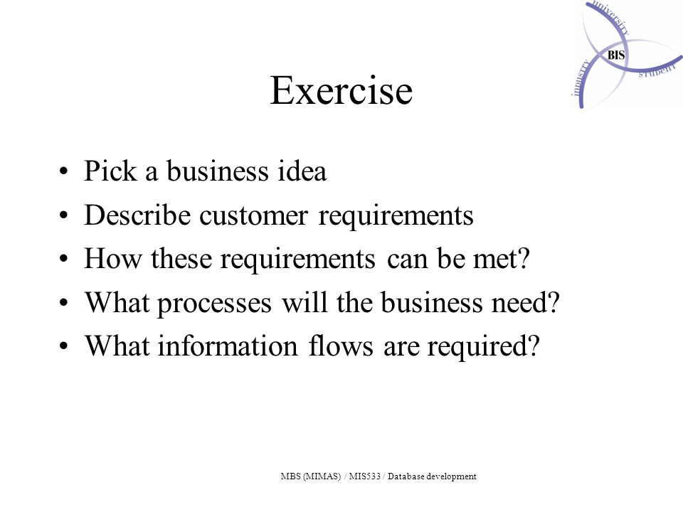 MBS (MIMAS) / MIS533 / Database development Exercise Pick a business idea Describe customer requirements How these requirements can be met.