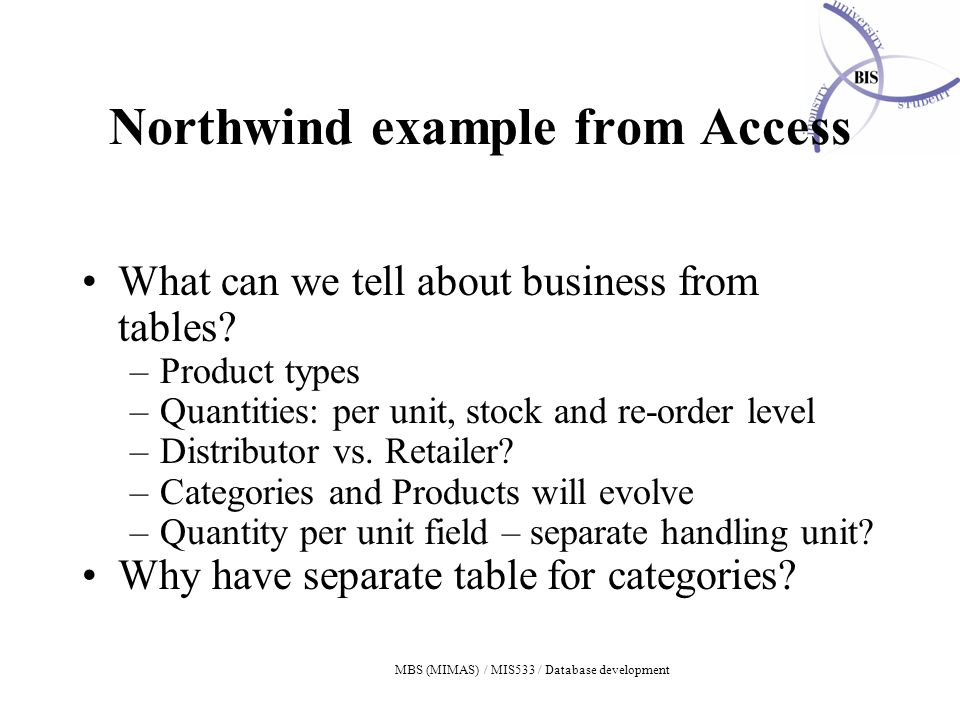 MBS (MIMAS) / MIS533 / Database development Northwind example from Access What can we tell about business from tables.